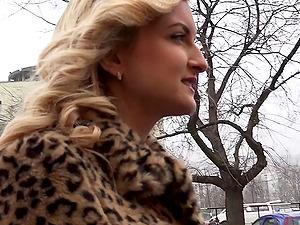 Elegant Canadian blonde honey likes sucking strangers' sausages