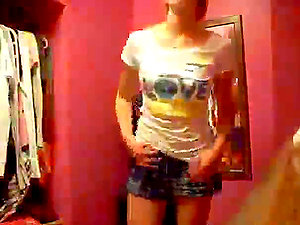 Homemade movie of a hot stunner unclothing in the dressing room