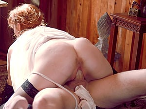 Things get kinky and rough when he gasps her while fucking her