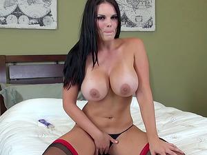 Curvy undergarments dame with amazing tits fucks a fucktoy