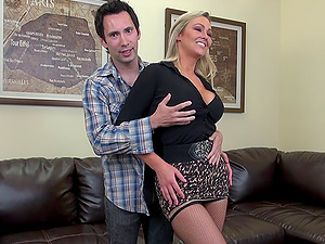 Curvy Abbey Brooks unclothes for him and they fuck lustily