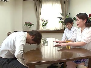 Asian mummy blows the lovely cherry dude and takes his money-shot
