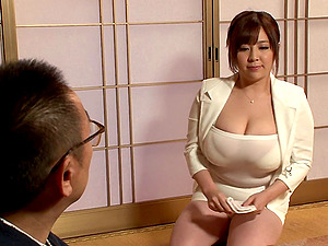 Irresistible Japanese chick with gigantic knockers penetrated in rear end style