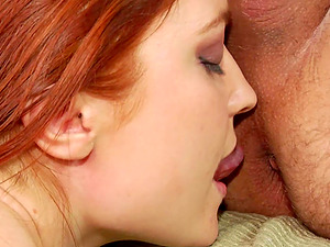 Leather boots and fishnets ginger-haired rims and fucks an old man