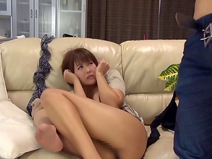 Horny burglar and the sexy Japanese wifey masturbate together