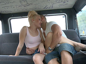 Blonde cutie gets into the van to rail the dick with passion and joy