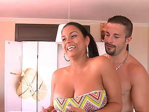 Strapless swimsuit Latina fucked by his fat fuck stick