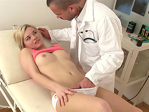 Physician uses his mouth and shaft to give a ultra-cutie a total check-up