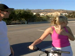 Bike railing blonde flashes some cameltoe then gets fucked