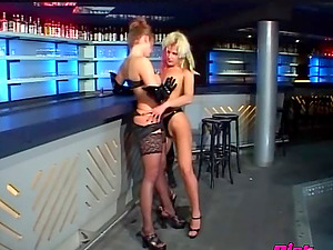 At a bar two hot waitress scanty booze on each other while fucking