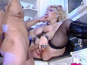 Fat and whorish housewife fucked on the kitchen floor