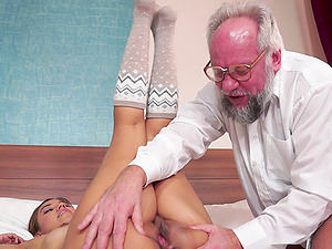 Grandpa somehow manages to bang a supah hot nubile chick