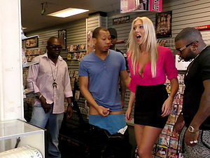 Fuckslut at the faux-cock store group-fucked by black guys