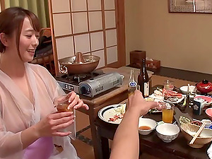Big tits Japanese mummy sucking and fucking in the hot springs