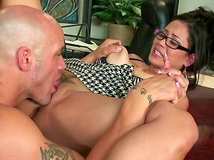 Horny bald man provides the bootylicious senorita with his dick