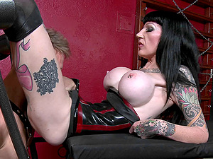 Sexy mistress unmasks her sub gimp and luvs his penis