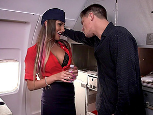 Long-legged August Ames plays a nasty stewardess that loves dick