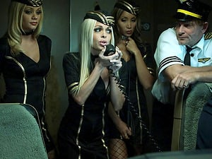 Stewardess whores have a wild orgy and everyone gets off