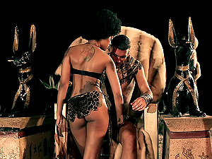Egyptian queen and her lusty king fucking in a costume scene