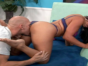 Mariah gives him a fine footjob then lets him pound that cootchie