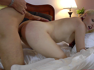 Pallid beauty with the blonde hair takes the nerdy boy's dick into pink hole