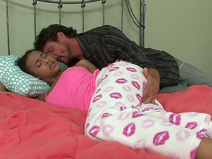 Black chick in her pajamas fucking the fat dick milky dude