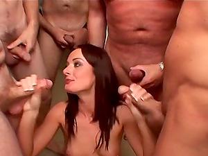 Jizz whore Melissa Lauren covered in hot fountains of man gravy