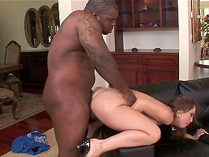 Fetching milky chick takes the black dick deep into her asshole