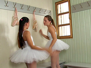 Ballerinas get naked and douche together while fucking