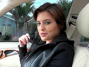 Curvy cutie gets in the car to pleasure your dick in Point of view