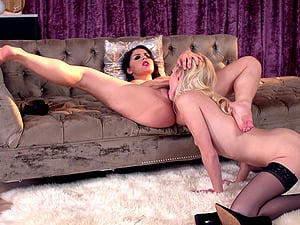 Lesbian domination have fun with a curvy honey and a pretty teenage blonde