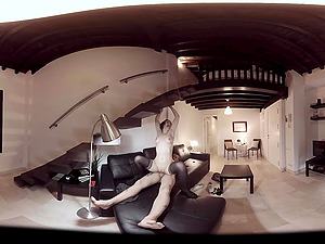 VR Porno in 360 Black-haired fucked hard on couch