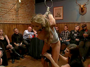 Blonde Gets Manhandled By Sausages and a Strapon Clad Female in Sadism & masochism Group Bang-out