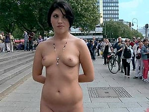 Fucking a Sexy Dark haired in the Street after Ambling Her Naked around Town