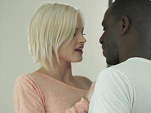 Sensuous blonde has an interracial venture with the black boy