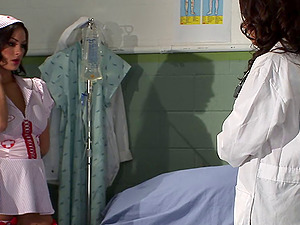 Pair of kinky nurses having a supreme lesbo session in the hospital