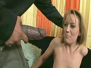 Gentle honey with natural tits having her cock-squeezing  beaver screwed with big man sausage in interracial porno