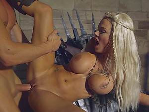 Chesty Peta Jensen is bonked hard right next to the metal throne