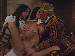 Horny King determines to give these sexy dolls a threesome treatment