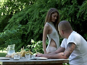 Long-haired cutie of the petite build and the outdoors banging