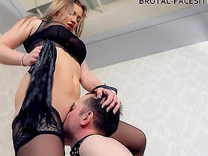 Greatest honey in black undergarments sits on the face of her victim