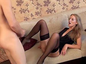 Jennifer's subordinated beau has to suck her paramour's big penis