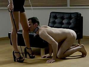 Sexy manhandle of her subordinated on a leash makes the mistress horny