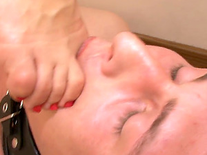 Beautiful high stilettos and toes tongued by a servant boy