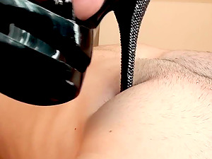 Horny stallion gets to eat enticing Polina's sexy feet