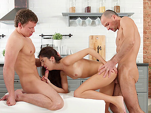 Skinny chick with suntan lines dual teamed in an MMF threesome