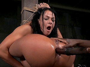 Supple dark-haired chick penetrated with a fucktoy in a hard Bondage & discipline have fun