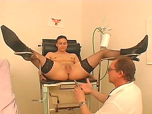 Salacious bitch gets her snatch fucked at the gynecologist