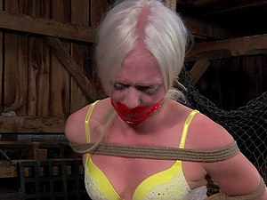 Blonde likes being tied up and suffering for master