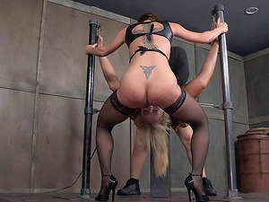 Their strap corded gimp takes master penis and a strapon fuck stick